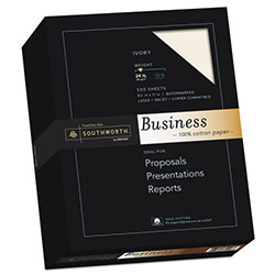 Southworth Business Paper, 8 1/2x11, 24 lb., Ivory, 500 Sheets/Box