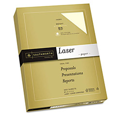 Southworth 25% Cotton Premium Laser Paper, Ivory, 32 lbs, Smooth, 8-1/2 x 11, 300/Pack