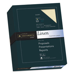 Southworth Linen 25% Cotton Paper, 8 1/2x11, Ivory, 500 Sheets/Box