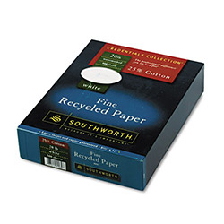 Southworth Fine Recycled Paper, 25% Cotton, 8 1/2 x 11, Plain White, 20 lb., 500 Sheets/Box