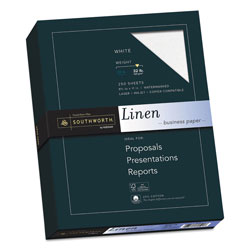 Southworth Linen 25% Cotton Paper, 8 1/2x11, White, 250 Sheets/Box