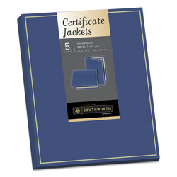 "Southworth certificate jacket, 9-1/2""x12"" 5/pack, navy with gold foil border"