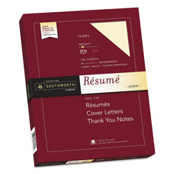 Southworth Résumé Paper, 8 1/2x11, Ivory, 24 lb., 100 Sheets/Box