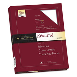 Southworth Résumé Paper, 8 1/2x11, White, 32 lb., 100 Sheets/Box