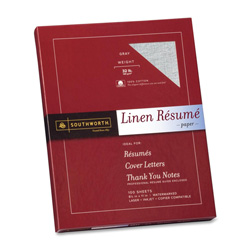 "Southworth Linen Resume Paper, 32 lb, 8 1/2"" x 11"", 100/BX, Gray"