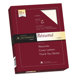 Southworth Résumé Paper, 8 1/2x11, Ivory, 32 lb., 100 Sheets/Box