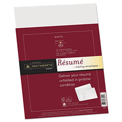 Southworth Resume Presentation Envelopes, 9 x 12, 25/Pack, White