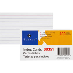 "Sparco Index Card, Ruled, 8 Point, 3""x5"", 100/Pack, White"