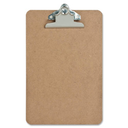 "Sparco Hardboard Clipboard, Nickel Plated Clip, 6""x9"", Brown"