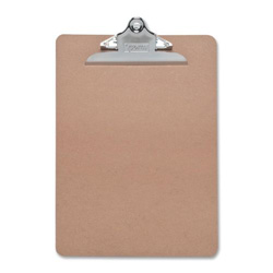 "Sparco Hardboard Clipboard, Nickel Plated Clip, 9""x12 1/2"", Brown"