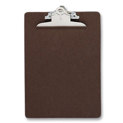 "Sparco Hardboard Clipboard, Nickel Plated Clip, 9""x15 1/2"", Brown"