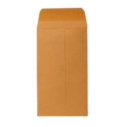 "Sparco Kraft Coin Envelope, Gummed, 28 lb., 3 1/8""x5 1/2"", Brown"