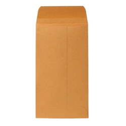 "Sparco Kraft Coin Envelope, Gummed, 28 lb., 3 3/8""x6"", Brown"