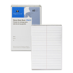 "Sparco Steno Notebook, Gregg Ruled, 60 Sheets, 6""x9"", White"