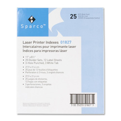 Sparco Printable Indexed Sheet Dividers, White