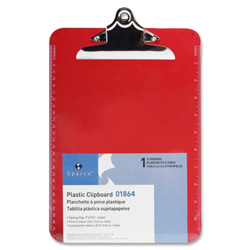 "Sparco Transparent Plastic Clipboard, 9""x12 1/2"", Red"