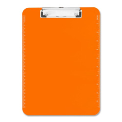 "Sparco Transparent Plastic Clipboard, Flat Clip, 9""x12"", Neon Orange"