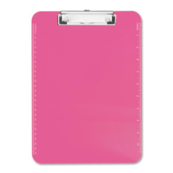"Sparco Neon Pink Transparent Plastic Clipboard, 9"" x 12"""