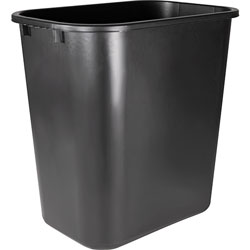 Sparco Rectangle Plastic Desk Wastebasket, 28 Quart, Black
