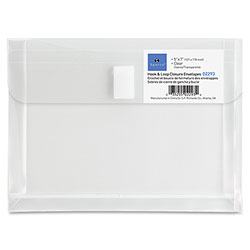 "Sparco Hook n' Loop Polypropylene Envelopes, 5""x7"", Clear"
