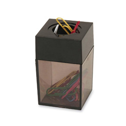 "Sparco Paper Clip Dispenser, Magnetic, 2""x3"", Smoke/Black"