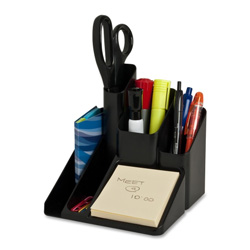 "Sparco Desk Organizer, 5 Compartments, 6""x6""x6"", Black"