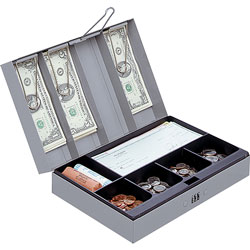 "Sparco Gray Steel Combination Lock Cash Box,11-1/2""x7-3/4""x3 1/4"""