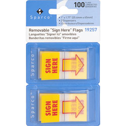 "Sparco Removable Flags with Pop-up Dispenser, ""Sign Here"", 1""x1-3/4"", 100/PK, Yellow"