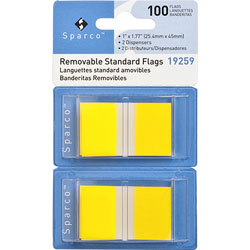 "Sparco Pop-up Removable Standard Flags, 1"", 100/PK, Yellow"