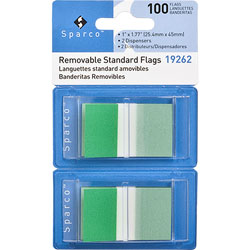 "Sparco Pop-up Removable Standard Flags, 1"", 100/PK, Green"