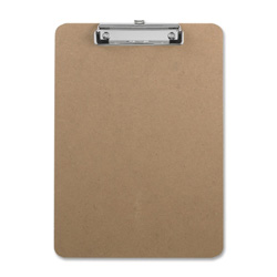 "Sparco Hardboard Clipboard, Nickel Plated Clip, 9""x12-1/2"", Brown"