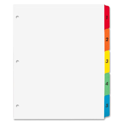 Sparco 5-Tab Indexed Sheet Dividers, White