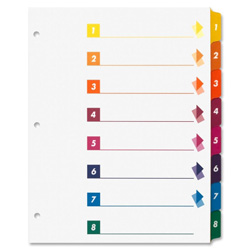 Sparco 8-Tab Indexed Sheet Dividers, White