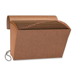 "Sparco Accordion File w/Flap, A-Z, 21 Pocket, Letter, 12"" x 10"", Brown"