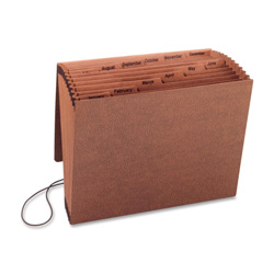 "Sparco Accordion File w/Flap, Jan-Dec, 12 Pocket, Letter, 12"" x 10"", Brown"