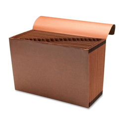 "Sparco Accordion File w/Flap, A-Z, 21 Pocket, Legal, 15"" x 10"", Brown"
