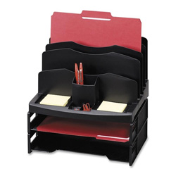 "Sparco Organizer w/2 Letter Trays, 9 Compartments, 13"" x 10"" x 8-5/8, Black"