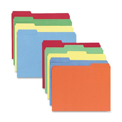 Sparco File Folders, 1/3 AST Tab Cut, Letter Size, 100/BX, AST