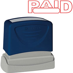 "Sparco PAID Title Stamp, 1 3/4""x5/8"", Red Ink"
