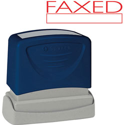 "Sparco FAXED Title Stamp, 1 3/4""x5/8"", Red Ink"