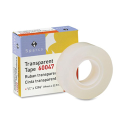 "Sparco Transparent Tape, 3/4""x1296"", 1"" Core, Transparent"