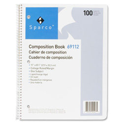 "Sparco Comp Book, 100 Sheets, College Ruled, 8 1/2""x11"", WE"