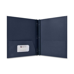 Sparco Two Pocket Report Cover with Fasteners, Blue, Box of 25