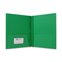 Sparco Two Pocket Report Cover with Fasteners, Green, Box of 25