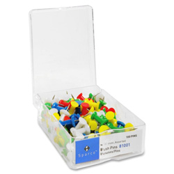"Sparco Push Pins, 3/8"" Point, 1/2"" Heads, Assorted Colors"