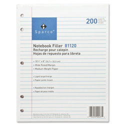 "Sparco filler paper, wide ruled with margin line, 10 1/2""x8"", white"