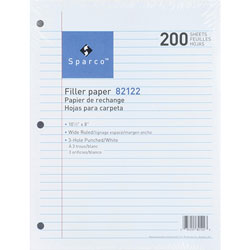"Sparco Filler Paper, Wide Ruled, 10 1/2""x8"", 200/Pack, White"