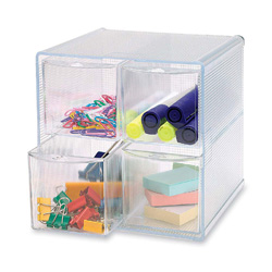 "Sparco Storage Organizer, 4 Compartment, 6""x7-1/4""x6"", Clear"