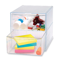 "Sparco Storage Organizer, 2 Drawer, 6"" x 6"" x 6"", Clear"