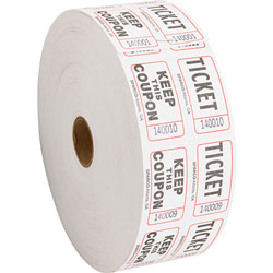 Sparco Check Ticket, Roll, Double with Coupon, 2000 Ct, White